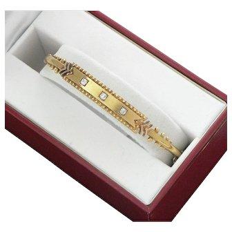 Edwardian 15K Gold Bangle Bracelet with Diamonds