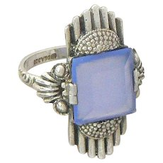 Theodor Fahrner 935 Silver and Glass Art Deco DEA Ring