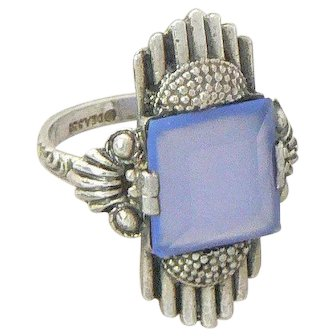 Theodor Fahrner 935 Silver and Glass Art Deco DEA Ring