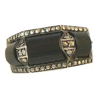 Theodor Fahrner Onyx and Marcasite Art Deco Ring