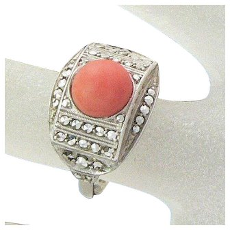 Theodor Fahrner Coral and Marcasite Sterling Silver Ring