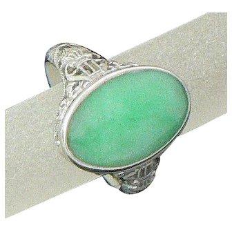 Jade 14K White Gold Filigree Ring 1920s