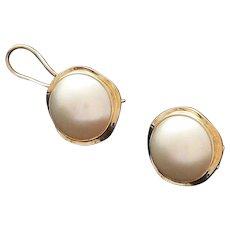 Mabe Pearl 14K Gold Earrings