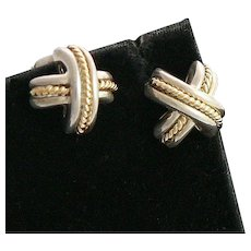 Classic Tiffany 18K Gold and Sterling Silver X Kisses Earrings
