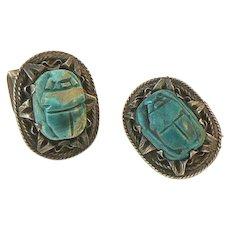 Egyptian Revival Silver Scarab Cufflinks