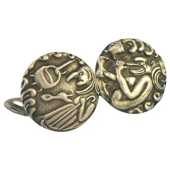 King and Witch Figural Fairy Tale Cufflinks 830 Silver Scandinavian
