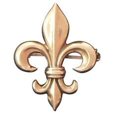 Gold Fleur de lis Watch Pin 10 Carat