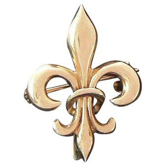 Gold Fleur de lis Watch Pin 10-12 Carat
