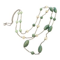 Aventurine Long Sterling Silver Chain Necklace