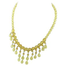 Canary Yellow Crystal Faceted Glass Bib Necklace