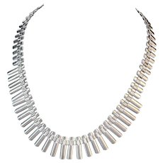 Mid Century Modern Sterling Silver Necklace and Bracelet Set