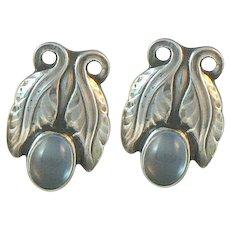 Georg Jensen Moonstone Earrings Sterling Silver Denmark Design No. 108