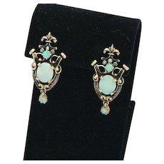14K Gold Opal Dangle Earrings Victorian Revival