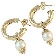 14K Gold Hoop Earrings with Pearl or Onyx Drops