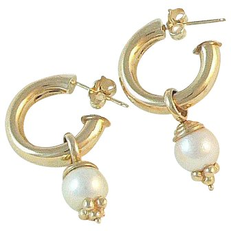 14K Gold Hoop Earrings with Pearl or Onyx Drops