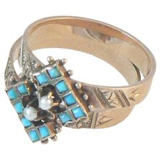 Pair of 10K Gold Victorian Rings Turquoise Pearl