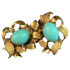 14K Gold Earrings Turquoise Cabochon Centers