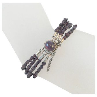 Cabochon Garnet Bracelet on Memory Wire 10K Gold