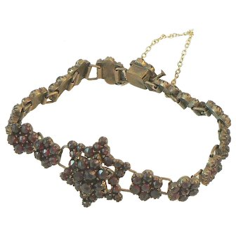Garnet Link Star Bracelet Gold over Silver