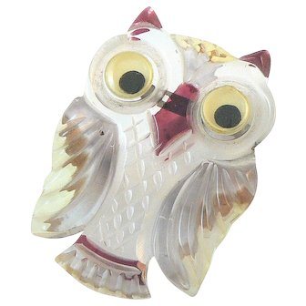 Owl Lucite Pin with Googly Eyes