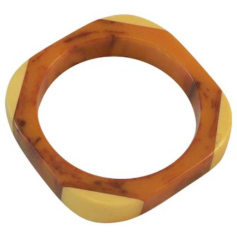 Laminated Bakelite Bangle Bracelet Marbled Orange and Yellow