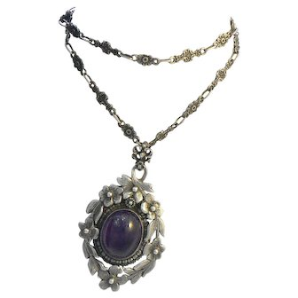 Peruzzi Amethyst Sterling Pendant Necklace with Hidden Intaglio