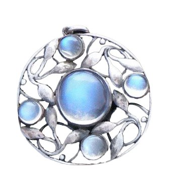 Liberty & Co. Arts & Crafts Moonstone Pendant Sterling Silver