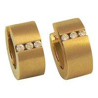 18K Gold Diamond Huggie Hoop Earrings