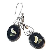 Micro Mosaic Victorian Bird Earrings 10K Gold
