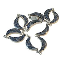 Mexican Mosaic Link Sterling Silver Necklace with Inlaid Blue Stone