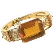 Amber Glass and Rhinestone Hinged Costume Bangle