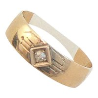 Edwardian French 14K Gold Diamond Band Ring