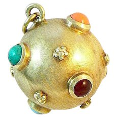 18K Gold Sputnik Pendant with Semi Precious Stones