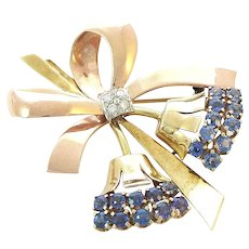 Tiffany 14K Gold Sapphires and Diamond Floral Bow Brooch Pendant Retro