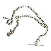 Sterling Silver Watch Fob Chain Necklace