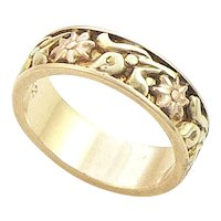 14K Gold Two Color Floral Band 1942