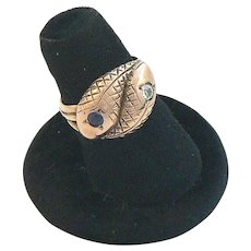 Snake Ring 9 Carat Diamond Sapphire