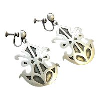 Dynamic William Spratling Sterling Silver Mexican Earrings