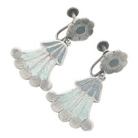 Margot de Taxco Sterling Silver Enamel Earrings