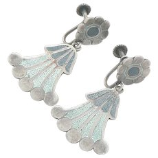 Margot de Taxco Sterling Silver Enamel Earrings