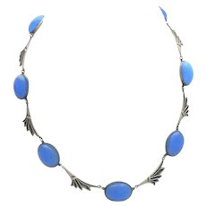 Art Deco Sterling Silver Periwinkle Blue Glass Palm Leaf Necklace