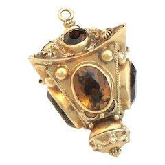18K Gold Golden Citrine Charm Pendant