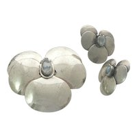 Lillian Pines Sterling Silver Moonstone Arts and Crafts Brooch and Earrings Set