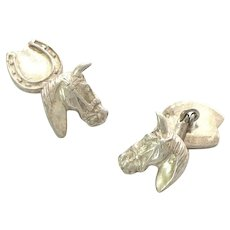 Horse and Horseshoe English Cufflinks Sterling Silver