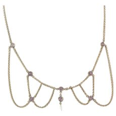 Amethyst Glass Festoon Necklace Gold Filled Baroque Pearl