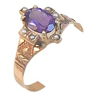 Amethyst and Pearl 10K Gold Victorian Ring