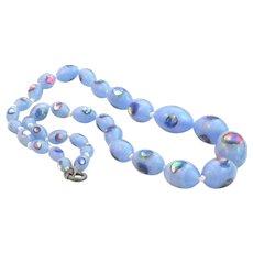 Blue Satin Glass Venetian Bead Necklace