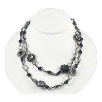 Sorrelli Austrian Crystal Black and Clear Necklace 1980s