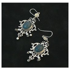 Florentine 800 Silver Chandelier Earrings with Blue Stones