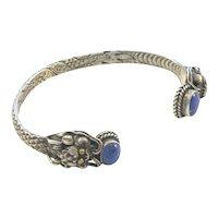 Chinese Dragon Cuff Bracelet Lapis Lazuli Sterling Silver